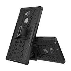 Custodia Silicone e Plastica Opaca Cover con Supporto per Sony Xperia XA2 Plus Nero
