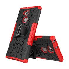 Custodia Silicone e Plastica Opaca Cover con Supporto per Sony Xperia XA2 Plus Rosso