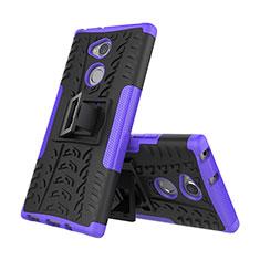 Custodia Silicone e Plastica Opaca Cover con Supporto per Sony Xperia XA2 Plus Viola