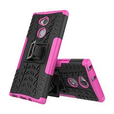 Custodia Silicone e Plastica Opaca Cover con Supporto per Sony Xperia XA2 Ultra Rosa Caldo