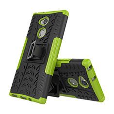 Custodia Silicone e Plastica Opaca Cover con Supporto per Sony Xperia XA2 Verde