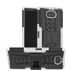 Custodia Silicone e Plastica Opaca Cover con Supporto per Sony Xperia XA3 Ultra Bianco