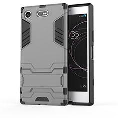 Custodia Silicone e Plastica Opaca Cover con Supporto per Sony Xperia XZ1 Compact Grigio