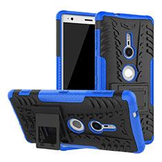 Custodia Silicone e Plastica Opaca Cover con Supporto per Sony Xperia XZ2 Blu