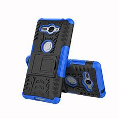Custodia Silicone e Plastica Opaca Cover con Supporto per Sony Xperia XZ2 Compact Blu