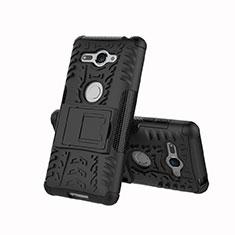 Custodia Silicone e Plastica Opaca Cover con Supporto per Sony Xperia XZ2 Compact Nero