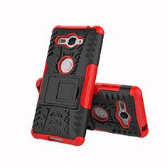Custodia Silicone e Plastica Opaca Cover con Supporto per Sony Xperia XZ2 Compact Rosso