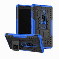 Custodia Silicone e Plastica Opaca Cover con Supporto per Sony Xperia XZ2 Premium Blu