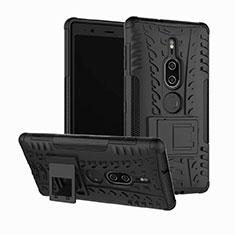 Custodia Silicone e Plastica Opaca Cover con Supporto per Sony Xperia XZ2 Premium Nero