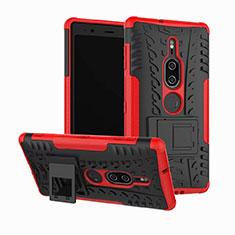 Custodia Silicone e Plastica Opaca Cover con Supporto per Sony Xperia XZ2 Premium Rosso