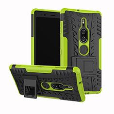 Custodia Silicone e Plastica Opaca Cover con Supporto per Sony Xperia XZ2 Premium Verde
