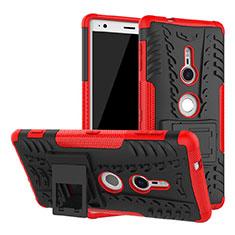 Custodia Silicone e Plastica Opaca Cover con Supporto per Sony Xperia XZ2 Rosso