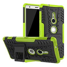 Custodia Silicone e Plastica Opaca Cover con Supporto per Sony Xperia XZ2 Verde