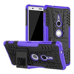Custodia Silicone e Plastica Opaca Cover con Supporto per Sony Xperia XZ2 Viola