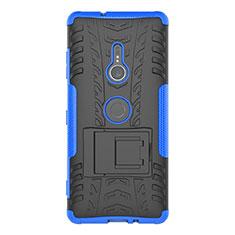 Custodia Silicone e Plastica Opaca Cover con Supporto per Sony Xperia XZ3 Blu