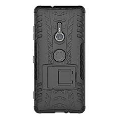 Custodia Silicone e Plastica Opaca Cover con Supporto per Sony Xperia XZ3 Nero