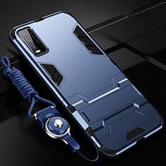Custodia Silicone e Plastica Opaca Cover con Supporto per Vivo Y12s Blu