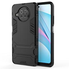Custodia Silicone e Plastica Opaca Cover con Supporto per Xiaomi Mi 10T Lite 5G Nero