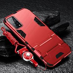 Custodia Silicone e Plastica Opaca Cover con Supporto per Xiaomi Mi 10T Pro 5G Rosso