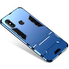 Custodia Silicone e Plastica Opaca Cover con Supporto per Xiaomi Mi 8 Blu