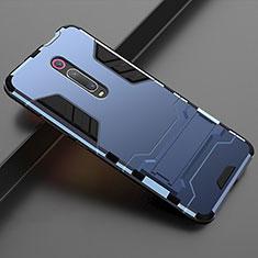 Custodia Silicone e Plastica Opaca Cover con Supporto per Xiaomi Mi 9T Blu