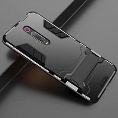Custodia Silicone e Plastica Opaca Cover con Supporto per Xiaomi Mi 9T Nero