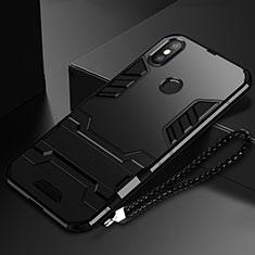 Custodia Silicone e Plastica Opaca Cover con Supporto per Xiaomi Mi Mix 3 Nero