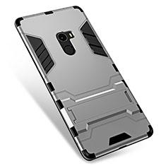 Custodia Silicone e Plastica Opaca Cover con Supporto per Xiaomi Mi Mix Argento