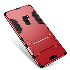 Custodia Silicone e Plastica Opaca Cover con Supporto per Xiaomi Mi Mix Rosso
