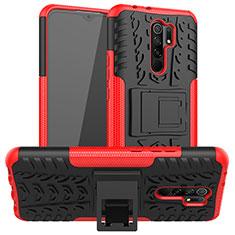 Custodia Silicone e Plastica Opaca Cover con Supporto per Xiaomi Redmi 9 Prime India Rosso