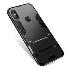 Custodia Silicone e Plastica Opaca Cover con Supporto per Xiaomi Redmi Note 5 AI Dual Camera Nero