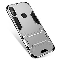 Custodia Silicone e Plastica Opaca Cover con Supporto per Xiaomi Redmi Note 5 Pro Argento