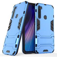 Custodia Silicone e Plastica Opaca Cover con Supporto per Xiaomi Redmi Note 8 Blu
