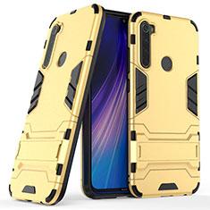 Custodia Silicone e Plastica Opaca Cover con Supporto per Xiaomi Redmi Note 8 Oro