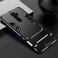 Custodia Silicone e Plastica Opaca Cover con Supporto per Xiaomi Redmi Note 8 Pro Nero