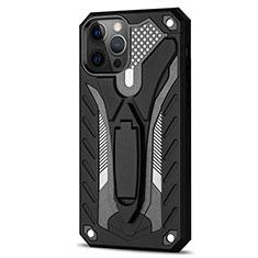 Custodia Silicone e Plastica Opaca Cover con Supporto R01 per Apple iPhone 12 Pro Max Nero