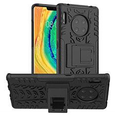Custodia Silicone e Plastica Opaca Cover con Supporto R01 per Huawei Mate 30 5G Nero