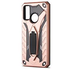 Custodia Silicone e Plastica Opaca Cover con Supporto R01 per Huawei P Smart (2020) Oro Rosa