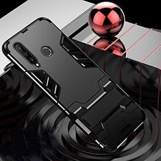 Custodia Silicone e Plastica Opaca Cover con Supporto R01 per Huawei P30 Lite New Edition Nero