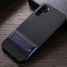 Custodia Silicone e Plastica Opaca Cover con Supporto R01 per Huawei P30 Pro Blu