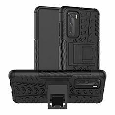 Custodia Silicone e Plastica Opaca Cover con Supporto R01 per Huawei P40 Nero