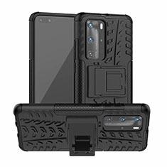 Custodia Silicone e Plastica Opaca Cover con Supporto R01 per Huawei P40 Pro Nero