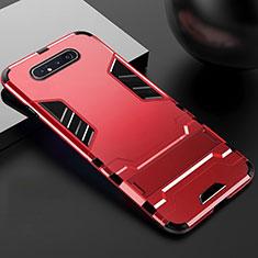 Custodia Silicone e Plastica Opaca Cover con Supporto R01 per Samsung Galaxy A80 Rosso