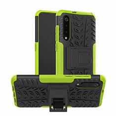 Custodia Silicone e Plastica Opaca Cover con Supporto R01 per Samsung Galaxy A90 5G Verde