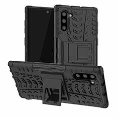 Custodia Silicone e Plastica Opaca Cover con Supporto R01 per Samsung Galaxy Note 10 5G Nero