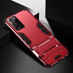Custodia Silicone e Plastica Opaca Cover con Supporto R01 per Samsung Galaxy Note 20 Ultra 5G Rosso