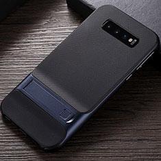 Custodia Silicone e Plastica Opaca Cover con Supporto R01 per Samsung Galaxy S10 Blu