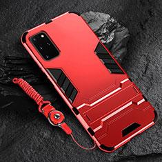 Custodia Silicone e Plastica Opaca Cover con Supporto R01 per Samsung Galaxy S20 Plus Rosso