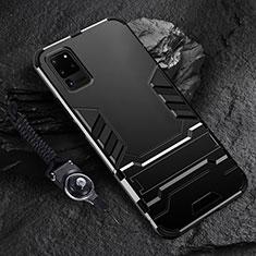 Custodia Silicone e Plastica Opaca Cover con Supporto R01 per Samsung Galaxy S20 Ultra 5G Nero