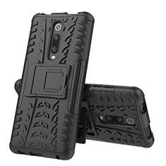 Custodia Silicone e Plastica Opaca Cover con Supporto R01 per Xiaomi Mi 9T Pro Nero